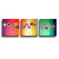 """obrazy nowoczesne """"kolorowy tryptyk""""  ręcznie malowane w technice strukturalnej na podkładach 3D 40x120cm"""