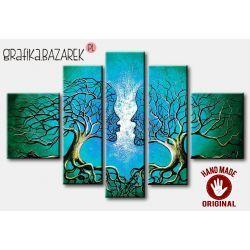 obrazy nowoczesne recznie malowany na plotnie zakochane drzewa