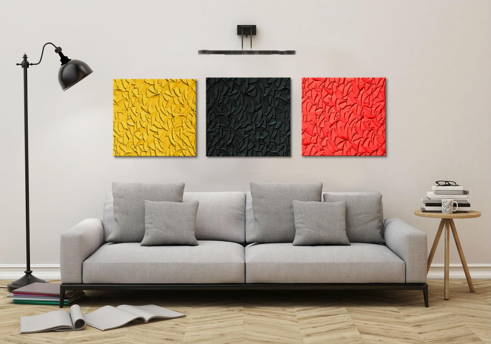 Modne Obrazy Abstrakcyjne Tryptyk 3szt 50x50cm Obrazy Z Czerwienią