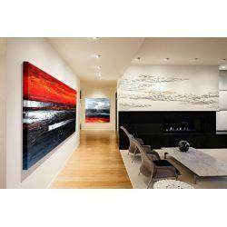 Duże obrazy do restauracji, apartamentów, loftów, salonu z antresolą - czerń i czerwień