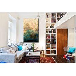 turkus i złoto - obraz abstrakcyjny grubo fakturowany