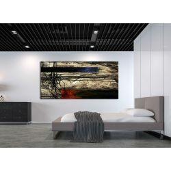 artystyczne kontrasty - obraz abstrakcyjny metaliczny z akcentem czerwieni i granatu