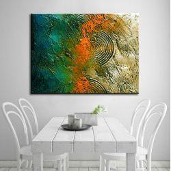 Duże obrazy nowoczesne - ręcznie malowane - jesienne tloczenie