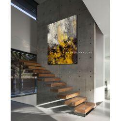 Musztardowo mglista abstrakcja obrazy do salonu nowoczesnego