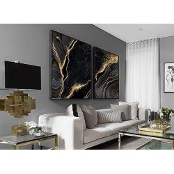Golden black - obraz na płótnie niczym marmur z żyłą złota z wyraźną strukturą.