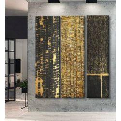 DELUXE TRYPTYCH - Trzy duże obrazy jako bardzo luksusowa dekoracja na ścianę, do ekskluzywnego salonu lub innego reprezentacyjnego wnętrza