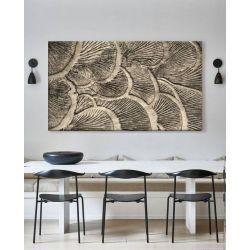 ORGANICO - Obraz z płaskorzeźbą w odcieniu platyny, bardzo dekoracyjne organiczne formy, płaskorzeźba na ścianę