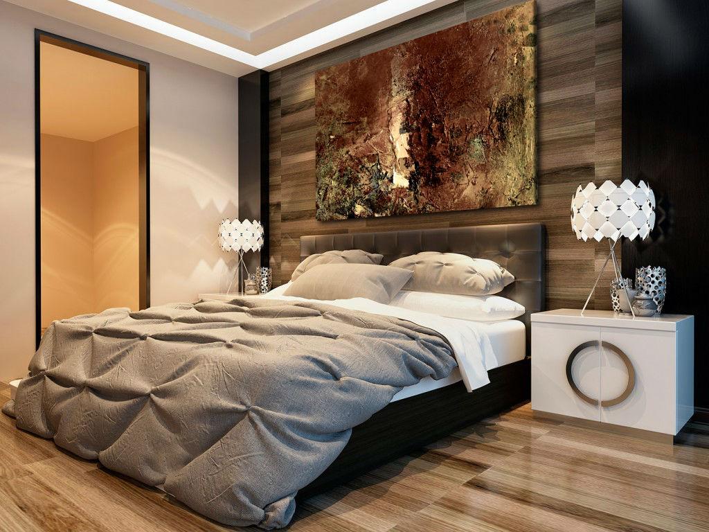 obraz brązowy w sypialni