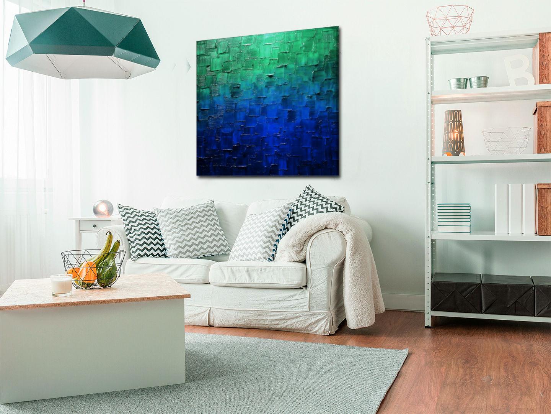 obraz malowany w kolorze turkusu