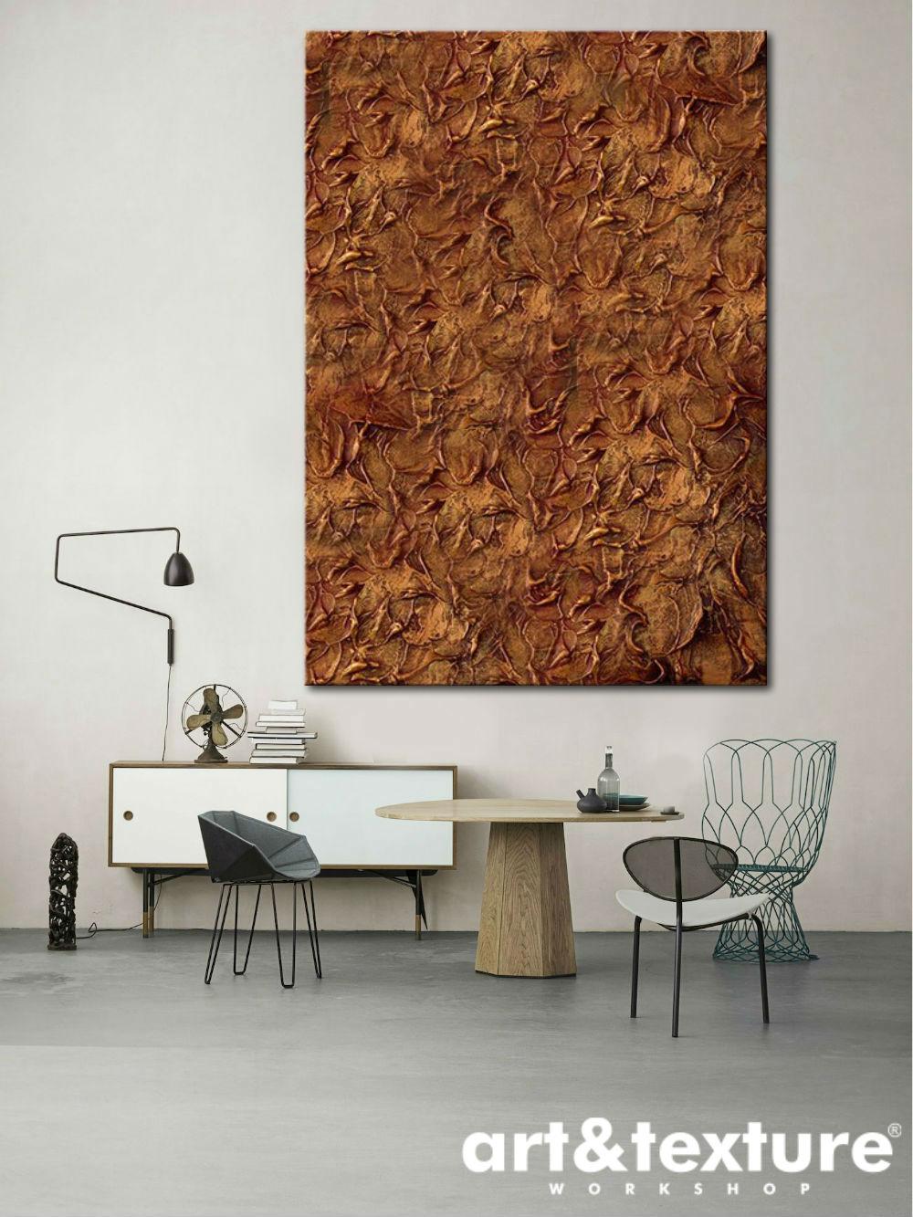 abstrakcja miedziana na ścianę do salonu