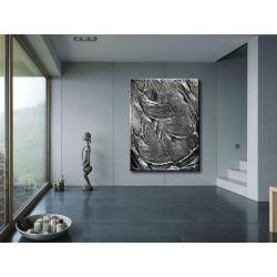Modny duży obraz do salonu - srebrne struktury