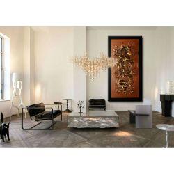 """Obrazy abstrakcyjne - z rzeźbą """"brązowa metaliczna struktura"""""""