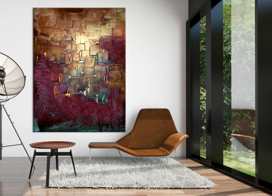 obrazy do salonu w kolorze złota miedzi i fioletu