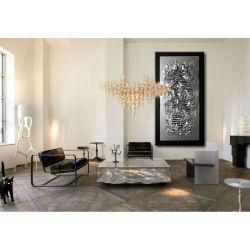 Srebrne faktury - nowoczesny obraz abstrakcyjny na ścianę