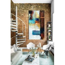 barwna mozaika - abstrakcyjny obraz na ścianę 90x190cm | obrazy do salonu