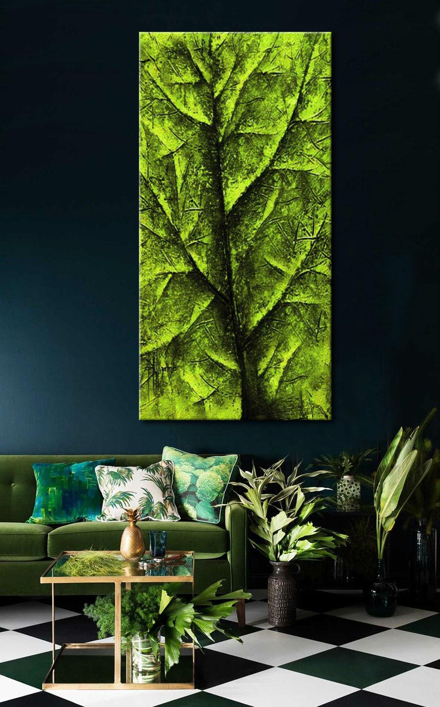 obraz do salonu z zielonym liściem