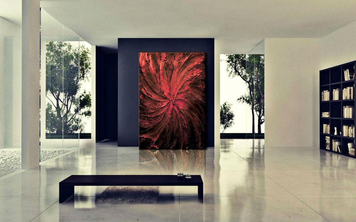 obraz do salonu z czerwienią