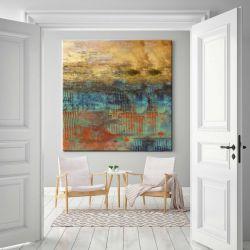 Abstrakcja ze złotem - abstrakcyjne obrazy do modnego salonu