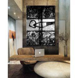 Popielato czarna abstrakcja - abstrakcyjne obrazy do modnego salonu
