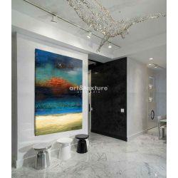 Morska struktura - abstrakcyjne obrazy do modnego salonu
