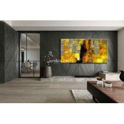 Żółto szare złudzenie - abstrakcyjne obrazy do modnego salonu