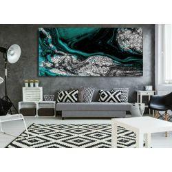 Szmaragd w srebrze - abstrakcyjne obrazy do modnego salonu