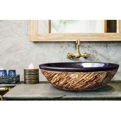 COSTA - nablatowa umywalka artystyczna ręcznie wykończona