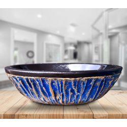 BLUE LAGON - nablatowa umywalka artystyczna ręcznie wykończona