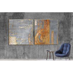 Złoty akcent dyptyk - Wielkoformatowy obraz na płótnie abstrakcyjny art&texture®