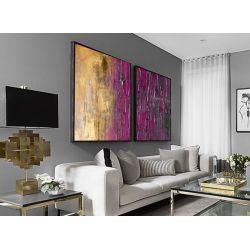 Złoto-fioletowy dyptyk - OBRAZ MIESIĄCA - jedna sztuka w tej cenie