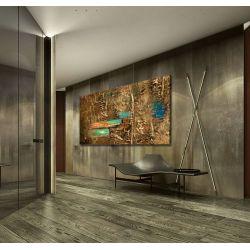 Miedziana abstrakcja z akcentami - OBRAZ MIESIĄCA - jedna sztuka w tej cenie 100x190cm