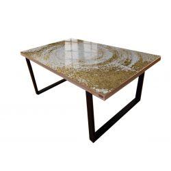 WHITE SYMPHONY - Stół do jadalni ze złotą strukturą