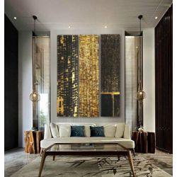DELUXE TRYPTYCH - Wielkoformatowy obraz na płótnie abstrakcyjny art&texture™