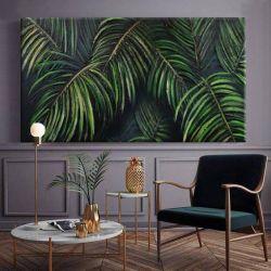 PALMERA - obraz z wyrzeźbionym w strukturze motywem liści tropikalnych w kolorze butelkowej zieleni i szmaragdu