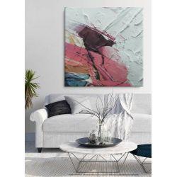 ROSSO - obraz z grubą strukturą w soczystych barwach abstrakcja do salonu