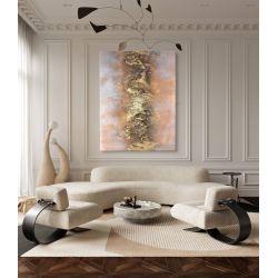 SALMON MIST - obraz strukturalny z nowoczesnym motywem złotej struktury otoczonej łososiową mgiełką