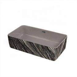 HERMOSA - betonowa umywalka nablatowa ze strukturalnym zdobieniem metalicznym