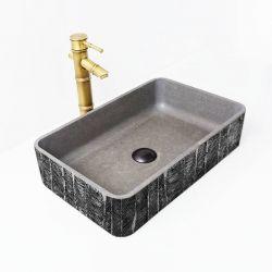METALIC WATERFALL - betonowa umywalka nablatowa ze strukturalnym zdobieniem metalicznym