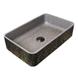 TEXTURAL FANTAZY - betonowa umywalka nablatowa ze strukturalnym zdobieniem metalicznym