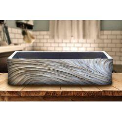 ELEGANT - betonowa umywalka nablatowa ze strukturalnym zdobieniem metalicznym