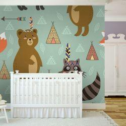 tapeta do pokoju dziecięcego - Indiańskie Zwierzątka