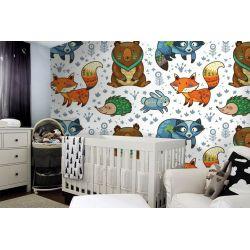 tapeta do pokoju dziecięcego - Bajkowe Zwierzaczki