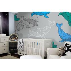tapeta do pokoju dziecięcego - Wieloryby
