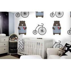 tapeta do pokoju dziecięcego - Misie i rowery