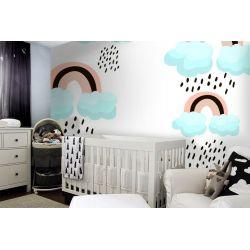 tapeta do pokoju dziecięcego - Deszczowe chmurki