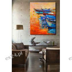 """obrazy malowane - nowoczesny obraz marynistyczny """"łódeczki"""""""