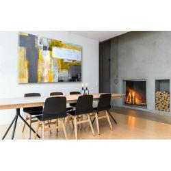 """obrazy nowoczesne malowane - """"żółto szara abstrakcja"""""""