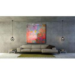 abstrakcyjny szał - nowoczesny obraz na dużym płótnie 120x120cm