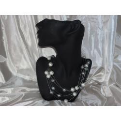 N-00001 Naszyjnik z perełek szklanych, białych i popielatych
