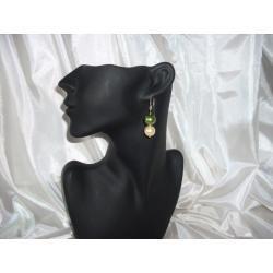 K-00001 Kolczyki z perełek szklanych oliwkowych i kremowych